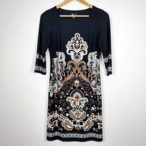 AB Studio 3/4 Sleeves Print Tunic Dress